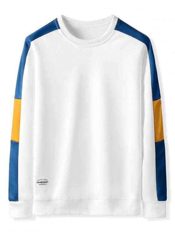 Kontrastfarben Gespleißter Lässiges Sweatshirt - Weiß L