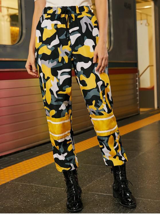 womens Camo Drawstring Windbreaker Jogger Pants - MULTI L