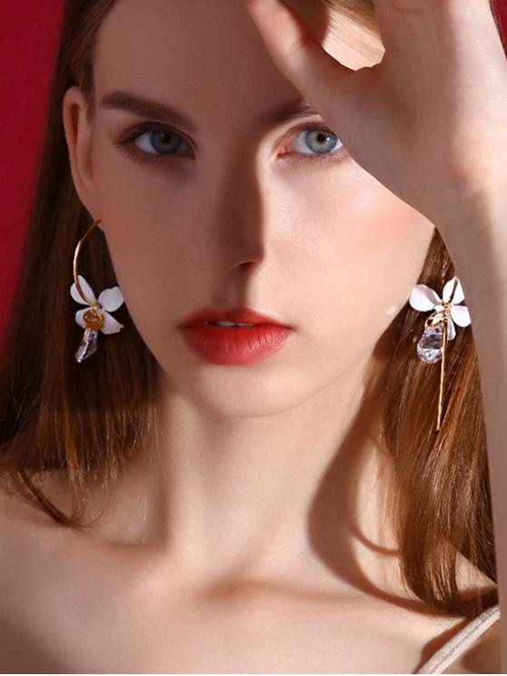 sale Faux Crystal Bar Flowers Hoop Earrings - GOLD