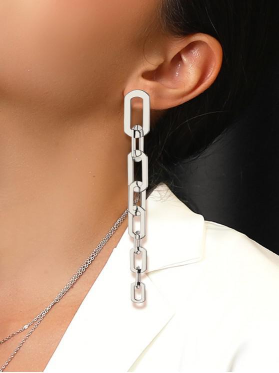 women Link Chain Dangle Drop Earrings - SILVER