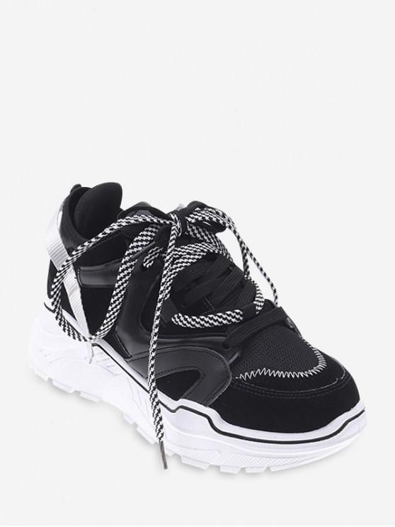 new Mix Material Color-blocking Dad Sneakers - BLACK EU 42