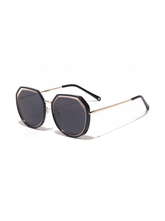 chic Double Frame Irregular Sunglasses - BLACK