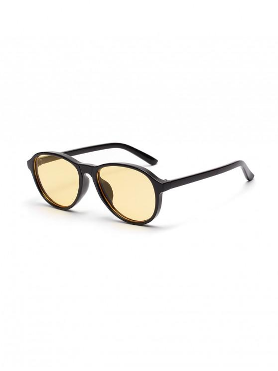outfits Irregular Transparent Frame Flat Sunglasses - BLACK