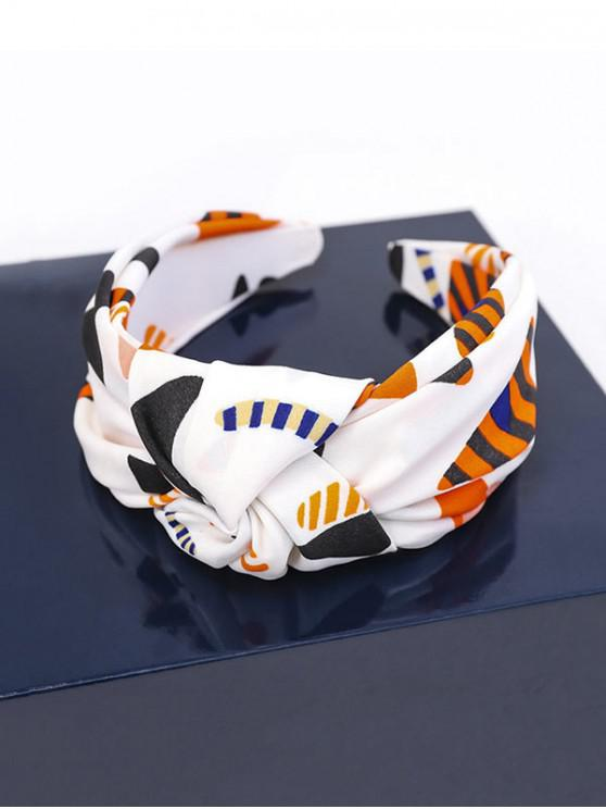 chic Stripe Print Knot Wide Hairband - WHITE