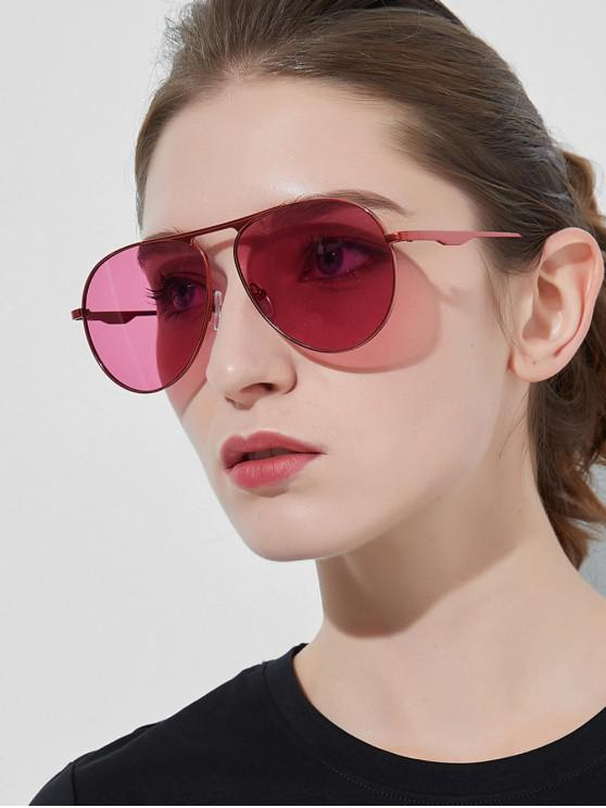 womens Metal Anti UV Pilot Sunglasses - LIPSTICK PINK