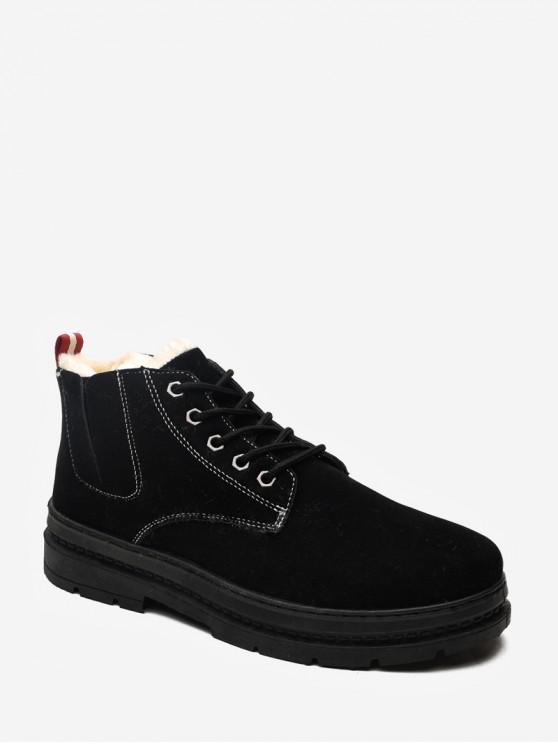 women's Plain Brushed Suede Cargo Short Boots - BLACK EU 44