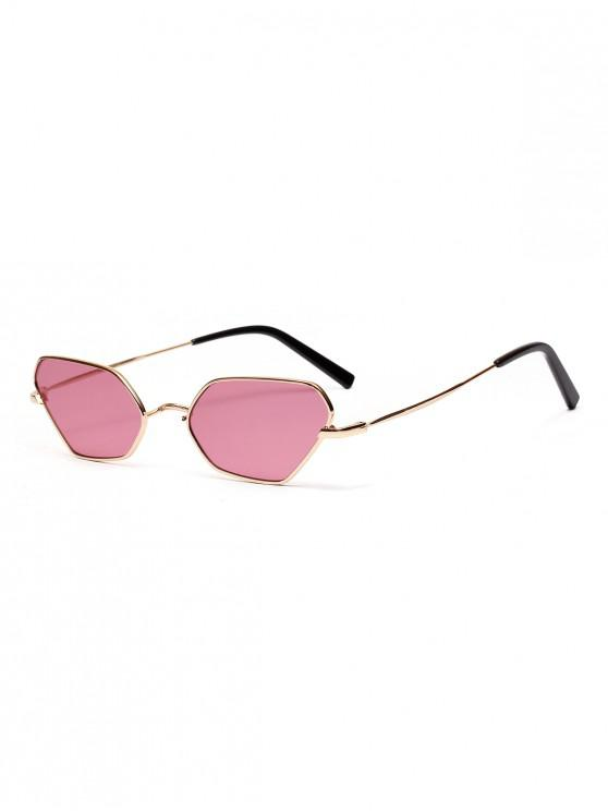 ladies Irregular Metal Small Sunglasses - BLUSH RED