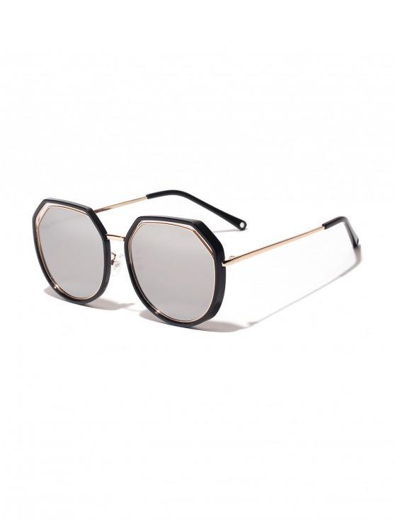 الإطار المزدوج غير النظامية النظارات الشمسية - أبيض