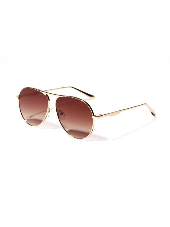 fashion Metal Anti UV Pilot Sunglasses - COFFEE