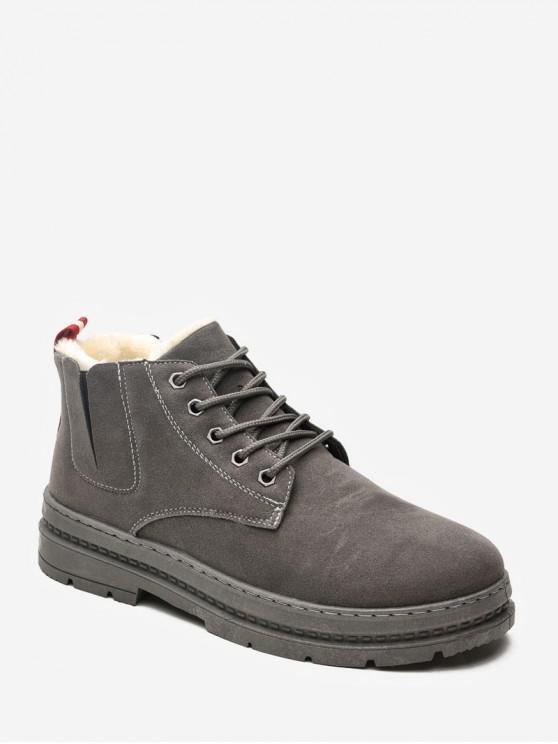buy Plain Brushed Suede Cargo Short Boots - GRAY EU 43