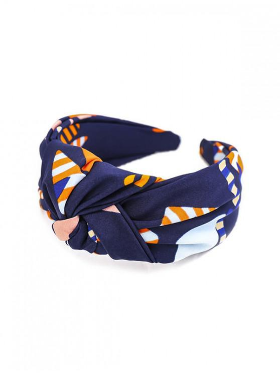 ladies Stripe Print Knot Wide Hairband - CADETBLUE