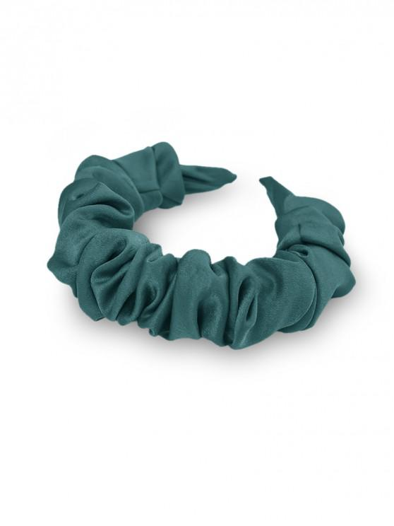lady Solid Fabric Folds Wide Hairband - DARK GREEN