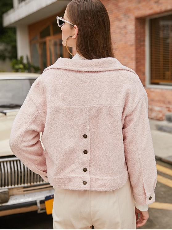 Drop-Schulter-Tasche Fluffy Teddy Jacke - Sakura Rosa Eine Größe