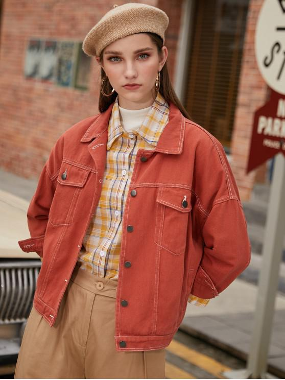 outfits Button Front Contrast Stitching Flap Pockets Shirt Jacket - ORANGE SALMON M