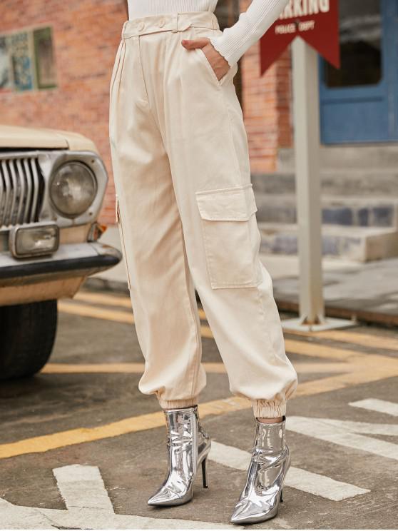 chic High Rise Zipper Cargo Jogger Pants - WARM WHITE S