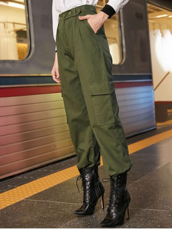 fancy High Rise Zipper Cargo Jogger Pants - ARMY GREEN S