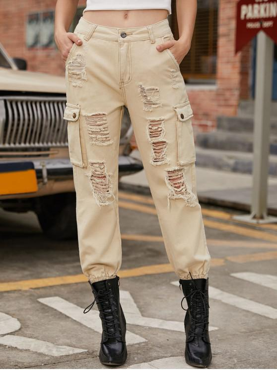 outfits Solid Color Ripped Pockets Jogger Pants - BEIGE L