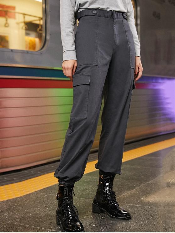 Pantalones de talle alto llano de carga del basculador - Gris Azulado XS