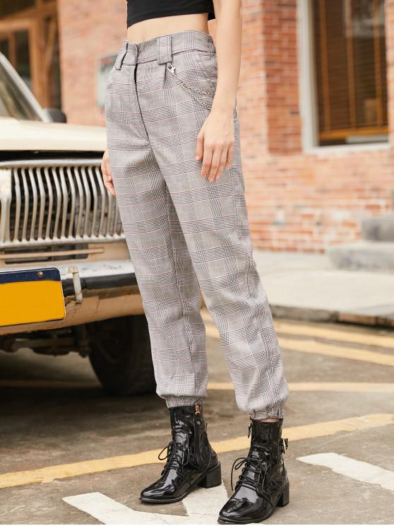 trendy Houndstooth Plaid Chain Embellished Jogger Pants - MULTI M