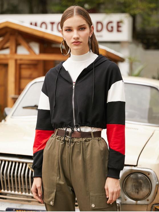 latest Colorblock Zip Up Cropped Hoodie - BLACK S