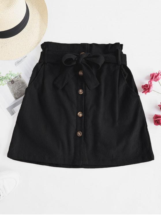 fashion Button Fly Corduroy Belted Paperbag Skirt - BLACK XL