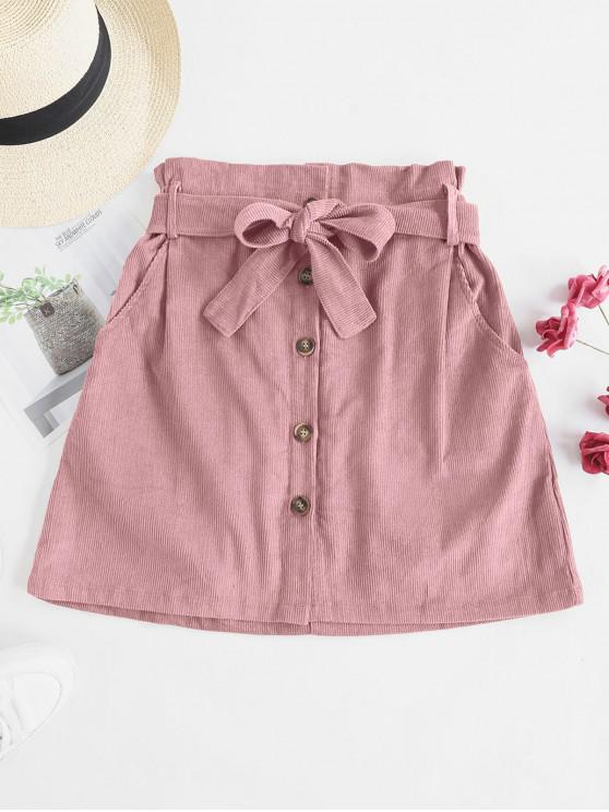 women Button Fly Corduroy Belted Paperbag Skirt - PINK XL