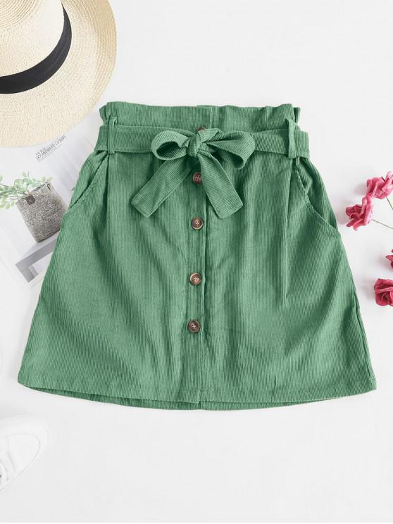 best Button Fly Corduroy Belted Paperbag Skirt - GREEN XL