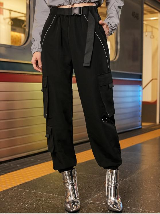 chic Reflective Piping Seatbelt Buckle Cargo Jogger Pants - BLACK L