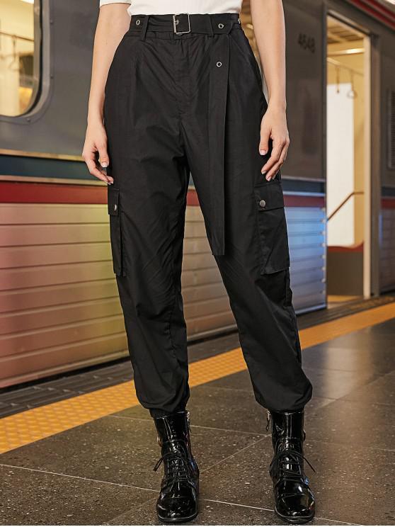 latest Solid Color Pockets Belted Jogger Pants - BLACK XL