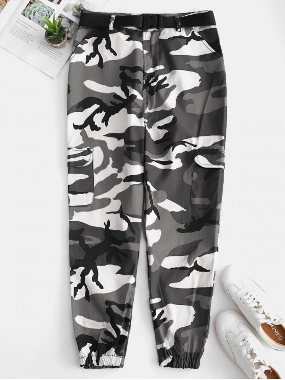 affordable Camo Pocket Belted Jogger Pants - CAMOUFLAGE GREEN S