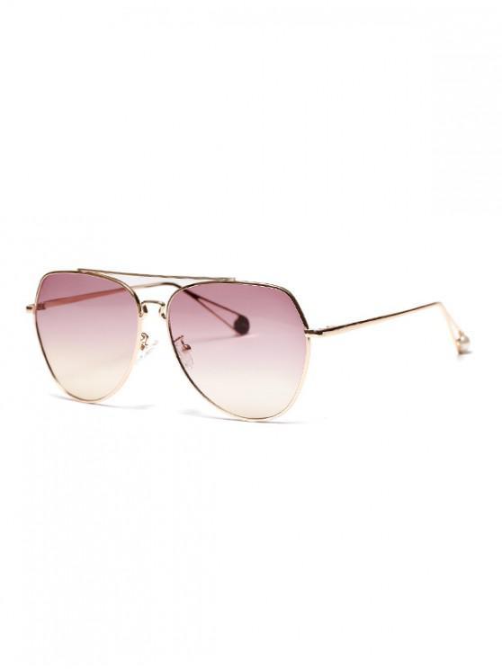 women Metal Bar Irregular Pilot Sunglasses - PALE VIOLET RED