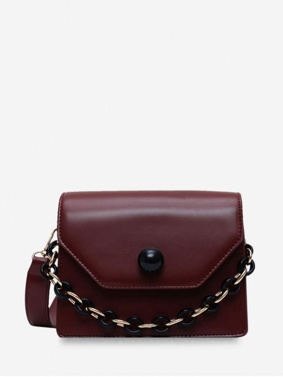 womens Chain Design Solid Shoulder Bag - COFFEE
