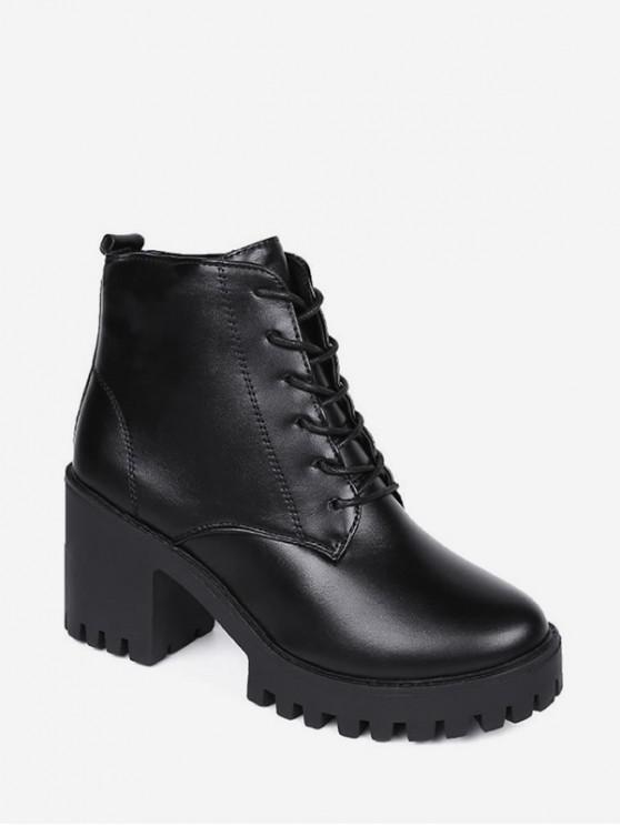 La plataforma del talón del medio sólido botas cortas - Negro EU 36