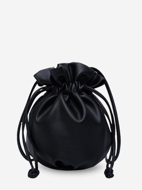 fancy Solid Small Drawstring Single Bucket Shoulder Bag - BLACK