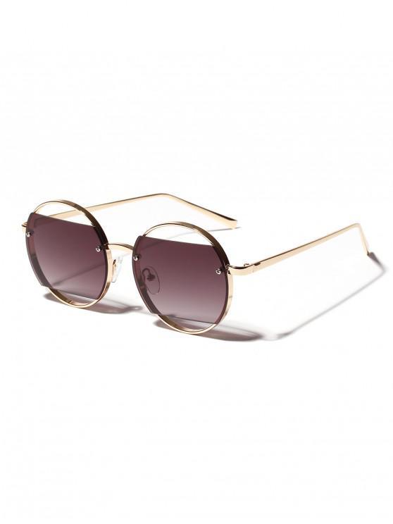 shop Round Frame Hollow Sunglasses - ASH GRAY