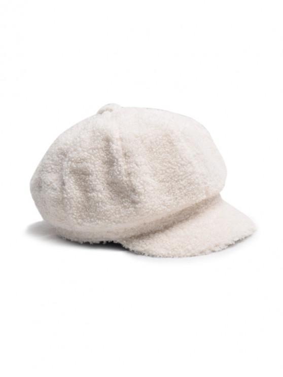 Chapeau Béret Fourré en Couleur Unie Design - Blanc de Crème