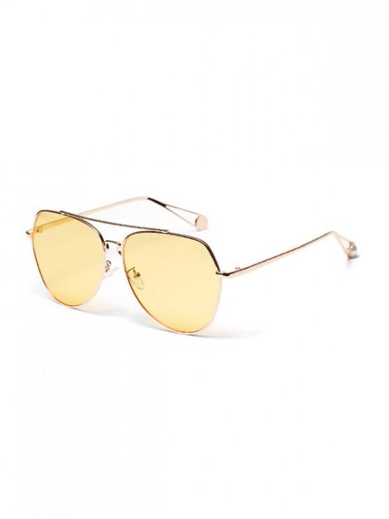 best Metal Bar Irregular Pilot Sunglasses - RUBBER DUCKY YELLOW