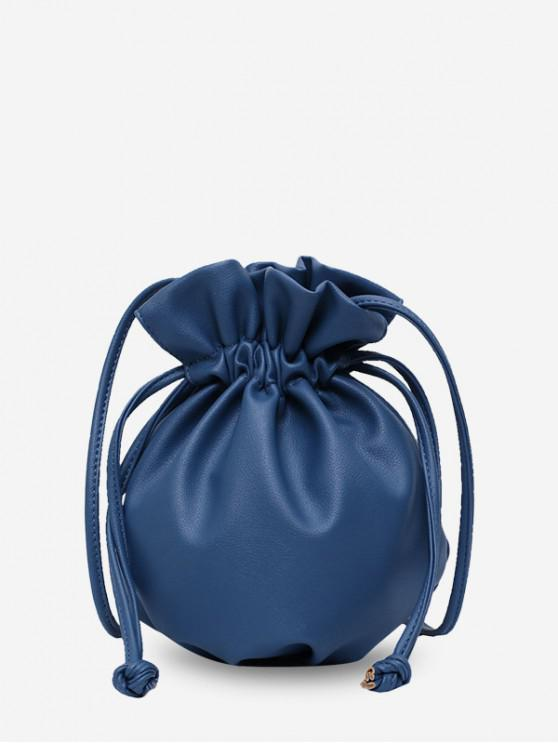 outfit Solid Small Drawstring Single Bucket Shoulder Bag - NAVY BLUE