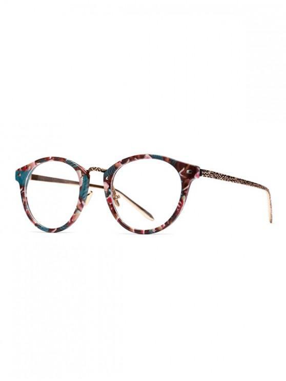 fancy Round Retro Flower Print Embossed Sunglasses - CINNAMON