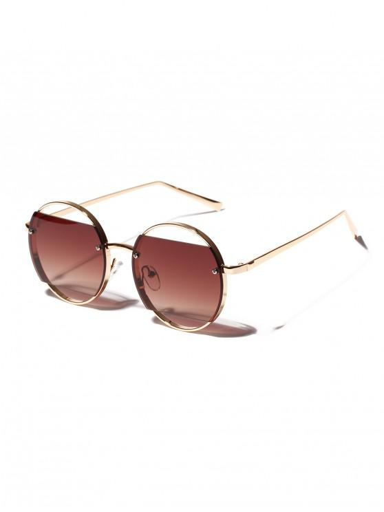 buy Round Frame Hollow Sunglasses - COFFEE