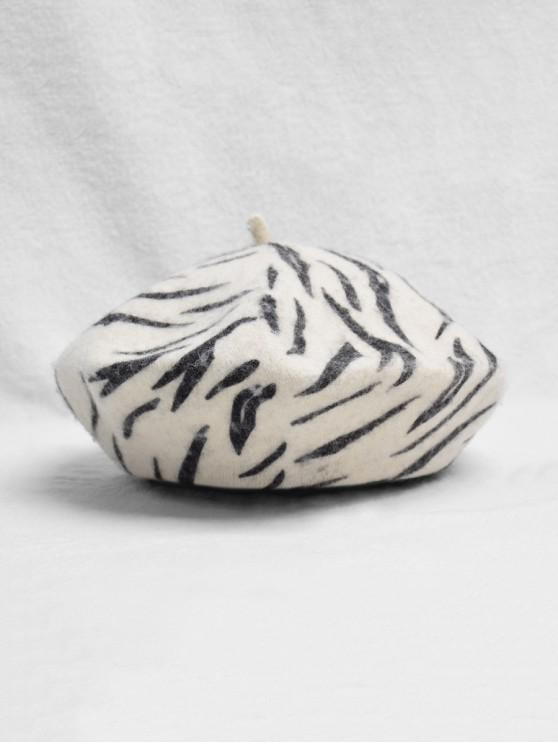 women Retro Zebra Print Beret Hat - MULTI-A