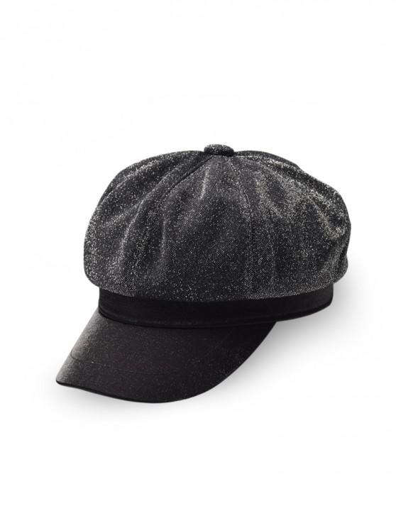 trendy British Solid Color Design Beret Hat - BLACK