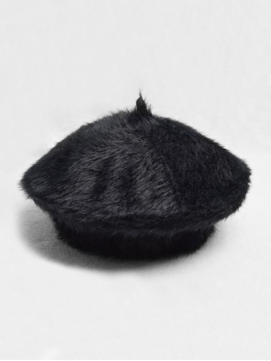 Chapeau Béret en Couleur Unie Décoré de Pluche - Noir