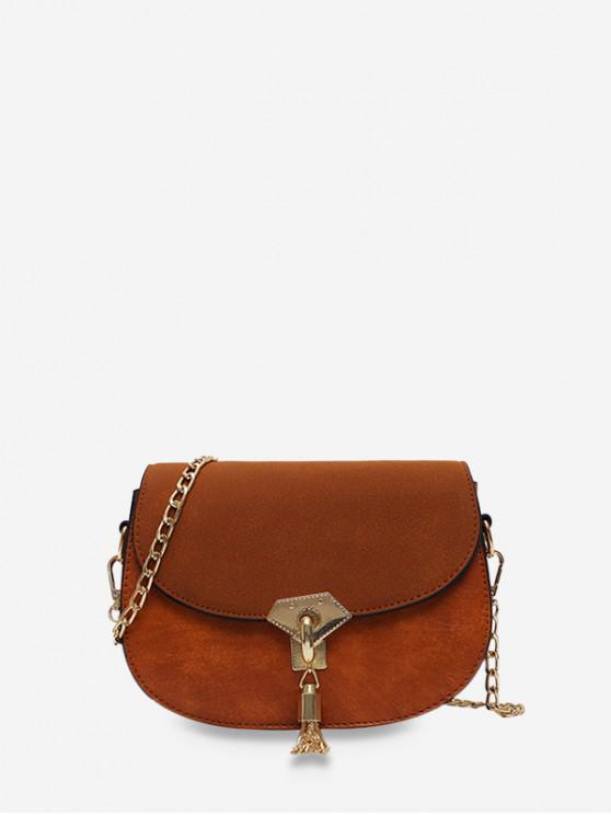 women Saddle Tassel Decorate Single Shoulder Bag - BROWN