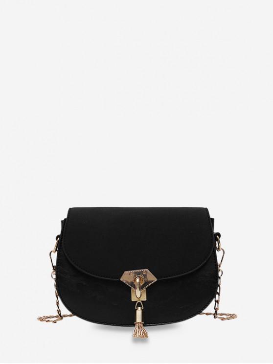 ladies Saddle Tassel Decorate Single Shoulder Bag - BLACK