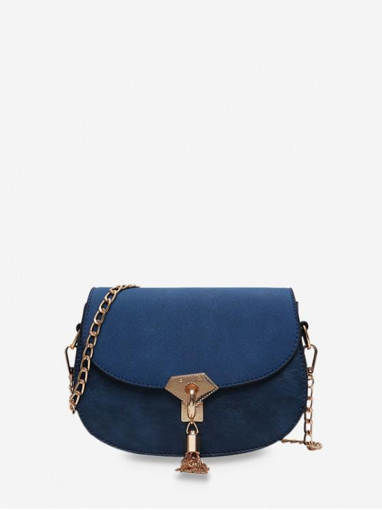 lady Saddle Tassel Decorate Single Shoulder Bag - PEACOCK BLUE