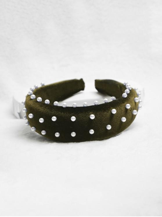 new Chic Faux Pearl Decorated Headband - FERN GREEN