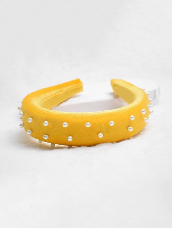 別緻的人造珍珠裝飾的發箍 - 亮黃的