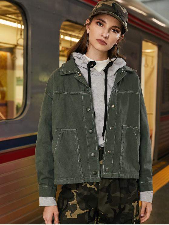 buy Contrast Stitching Button Front Pockets Shirt Jacket - ARMY GREEN S