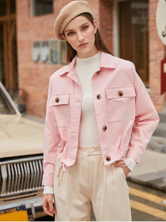 women's Button Up Drop Shoulder Drawstring Hem Jacket - PINK XS